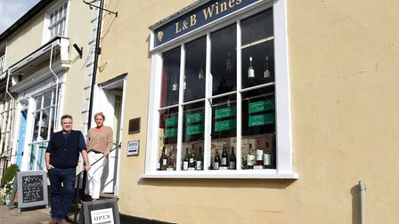 Owner WIll Chaytor with employee Lisa Hockley. A new wine shop has arrvied in the heart of Lavenham