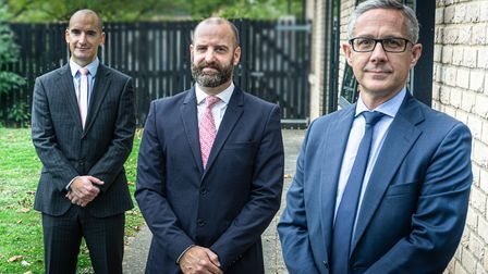 Andy Cousins, Peter Gray and George Hinds of Becket Investment Management Group Picture: PHILLIP JA