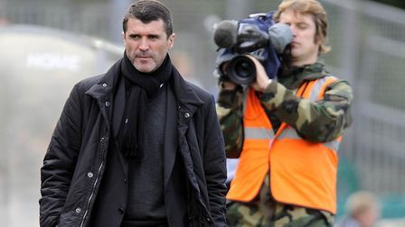 In the spotlight: Town manager Roy Keane is captured on camera at Plymouth's Home Park during a depr