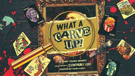 The poster for the world premiere of the murder-mystery What A Carve Up! which features an all-star