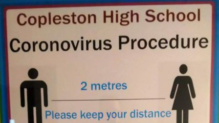 Signs explaining the social distancing measures at Copleston High School in Ipswich. Picture: COPLES