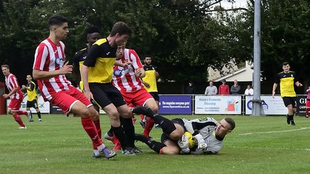 Action from Saturday's Isthmian League North opener between Great Wakering and Felixstowe & Walton.