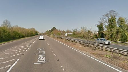 The van collided with the central reservation near Stratford St Mary on the A12 Picture: GOOGLE MAPS