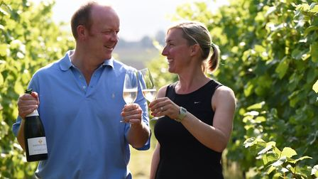Owners Angus and Pod Crowther of Tuffon Hall Vineyard in Halstead, are extremely happy with this yea