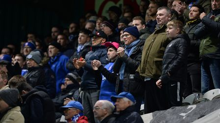 Ipswich Town fans watching their team play for the first time at Rochdale's Spotland last season. Pi