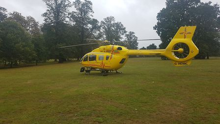 The air ambulance landed in Christchurch Park, Ipswich Picture: ARCHANT
