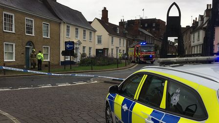 Police were called to the Greene King brewery in Bury St Edmunds before setting up a road closure Pi