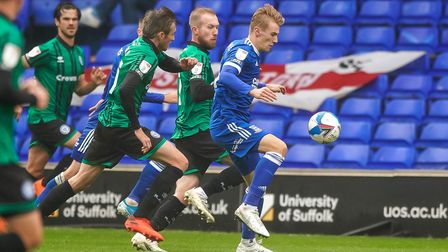 Flynn Downes in action after being brought on in the second half.Picture: Steve Wallerw