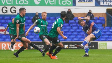 Oliver Hawkins hit the inside of the post with this left foot shot.Picture: Steve Waller