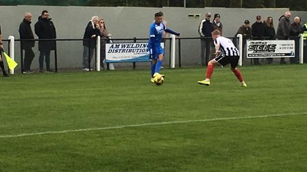 Leiston winger Finlay Barnes, who netted a consolation goal, in on the attack at Coalville Town. Pic