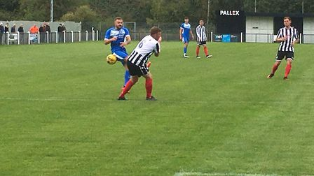 Leiston's Dylan Switters has a shot blocked during the 4-1 away defeat at Coalville Town. Picture: C