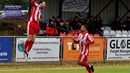 Ollie Canfer celebrates his first goal during the FA Trophy victory over Great Wakering Rovers on Sa