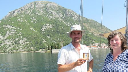 Cathy aboard the Monty B with skipper Tim Layton, off Perast in the Bay of Kotor, Montenegro - exact