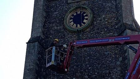 The historic clock dial on the side of St Mary's Church in Walsham Le Willows has been restored. Pic