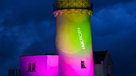 Old Hunstanton Lighthouse was lit up in tribute to the NHS and key workers. Picture: Ian Burt