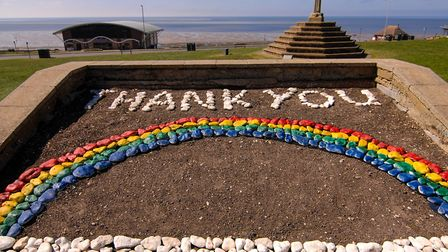 A rainbow tribute to NHS workers battling coronavirus has appeared on The Green at Hunstanton Pictu