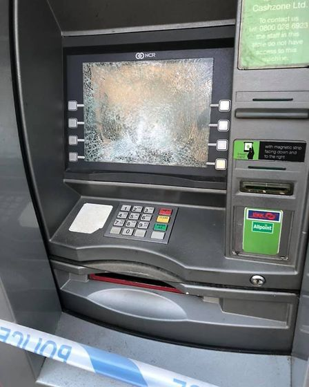 Reepham's only remaining cash machine has been left out of service after being smashed by a group of
