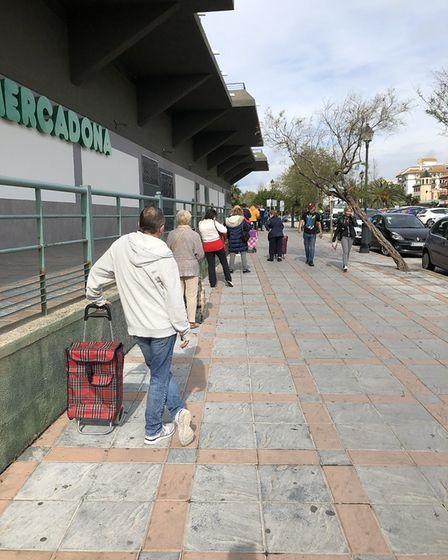 The scene from outside a supermarket in Fuengirola, Spain during the coronavirus pandemic. Picture: