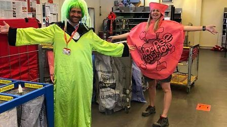Posties from Dereham delivery office in fancy dress to raise a smile from isolated residents. Pictur