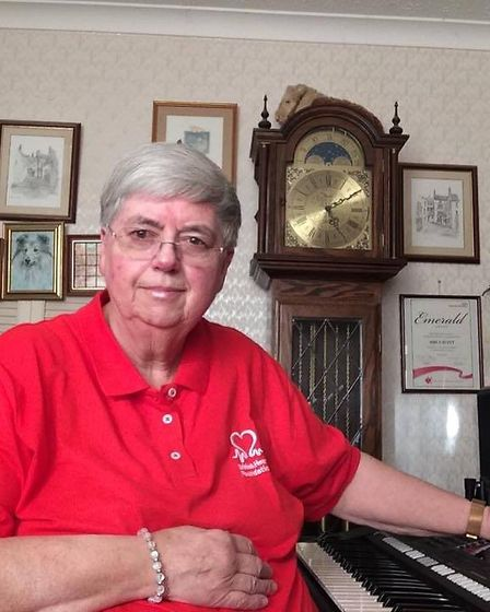 Noelle Scott, 70 from Necton took to Facebook to live-stream her 14-hour keyboard marathon. Picture: