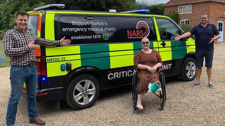 Chris Neil, left, and Steve Maddams of Nars, with Jodie Hook, from Bradenham, near Dereham, who had