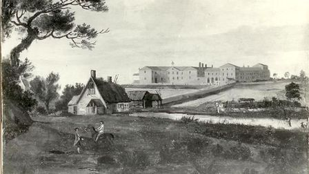 A black-and-white photograph of an oil painting of Gressenhall Union by Robert Kerrison, 1810. Image