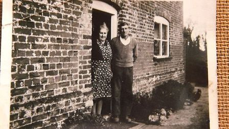 Photograph of Mr and Mrs Watling outside Union Farm Farmhouse in the 1940s. Image: Norfolk Museums S