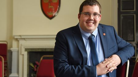 Stuart Green, 27, the new mayor of Dereham, and believed to be the youngest they have ever had. Pict