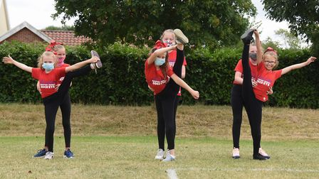 Girls from the Rockets team, from left, front, Olivia, nine; Mollie, 10; and Poppy, nine; practice t
