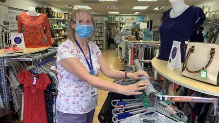 Heather Neave volunteer at the Cancer Research UK charity shop in High Street, Dereham. She said cus