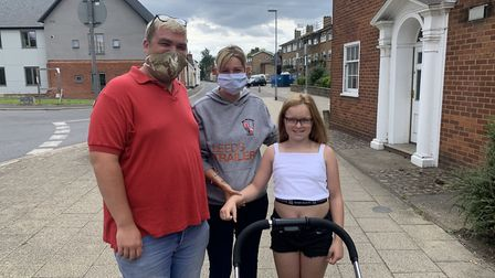 Craig and Chloe Briggs, from Dereham, were wearing their face masks on a trip into the town centre.