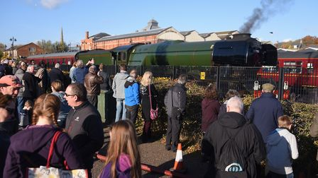 Crowds gathered on Koblenz Avenue as the Flying Scotsman could be seen in sidings at the Norwich Rai
