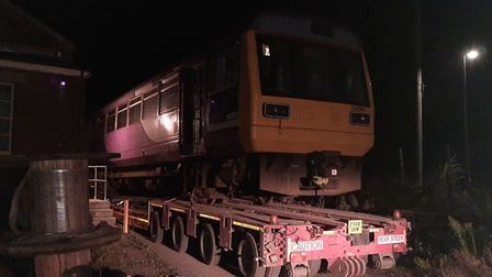 Half of the new Mid Norfolk Railway's second Pacer unit arrives at Dereham. Picture: Mid Norfolk Rai