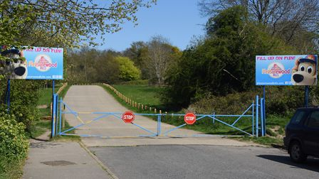 The closed entrance to Pleasurewood Hills in Lowestoft during the Coronavirus lockdown. Picture: DEN