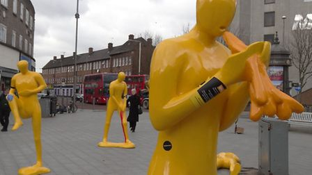 Some of the yellow figures in Barking town centre