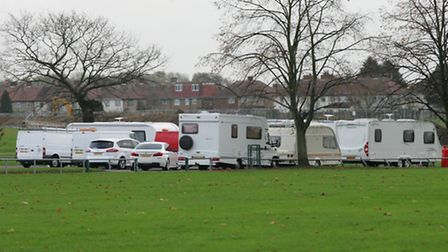 Eviction notices: The travellers first moved to Central Park in November 2012