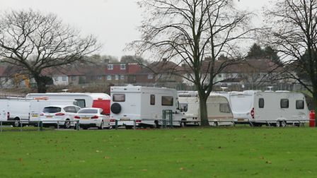 Caravans: The travellers first moved to Central Park in November and left last month
