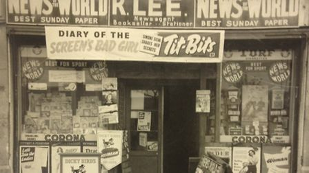 Family run shop Ronnie Lee Newsagent Lodge Avenue dagenham in early 50s /Picture: David