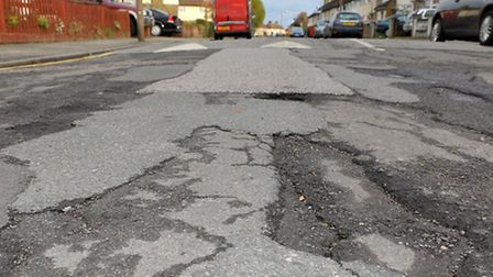 Dawson Avenue, Barking, on which road sits Eastbury Primary School, before repair /Picture: Spencer