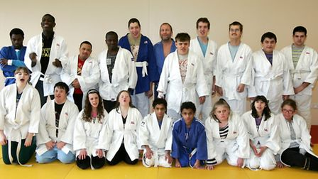 Special needs pupils 16-19 years from Trinity school in Dagenham are taking part in a judo tournamen