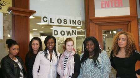Syreeta McQueen, far right, with some of the fashion designers who have sold clothes in the shop