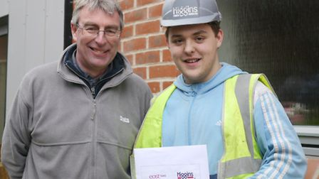 Charlie (right) with Higgins Construction project manager Robin Capstick