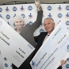 George Traykov celebrates his second win on the EuroMillions Lottery at Pioneer Point, Ilford.