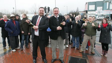 Liam Smith and Jon Cruddas leading the celebrations after the previous prison plans were scrapped in