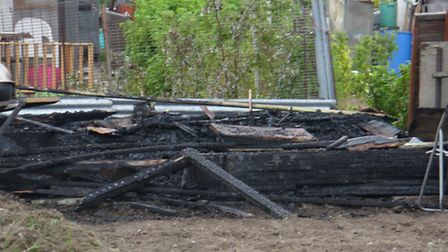 Shed burnt down in allotments.