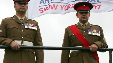 Colour Sergeant Mitchell and Corporal Price of the 1st Battalion of the Royal Anglian Regiment,