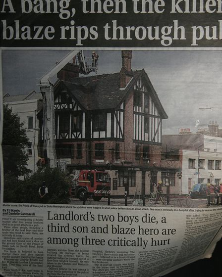 A newspaper article reporting on the fire in 2003