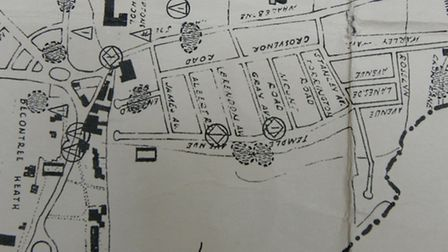 The map, probably from the late '40s, shows two unexploded phosporous bombs were uncovered in Temple