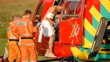 The patient was taken by air ambulance to Royal London Hospital, in Whitechapel. Picture taken by K