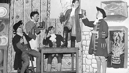 Dudley Moore (second from right) in a school production of She Stoops to Conquer